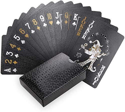 Joyoldelf Schwarzer Spielkarten, 100% Wasserdichtes Pokerkarten Plastik Profi Kartendecks Poker Cards für Weihnachten, Halloween und alle Partys