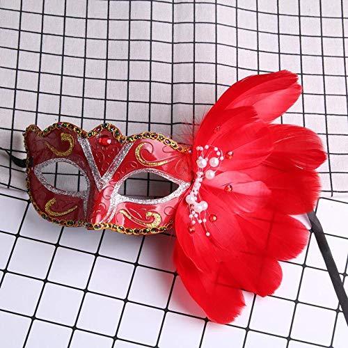 XWYWP Mscara de Halloween Venecia Masquerade Mscara en Stick Mardi Gras Disfraz Eyemask Impresin Halloween Carnaval Mano Palo Plumas Mscara Fiesta Rojo
