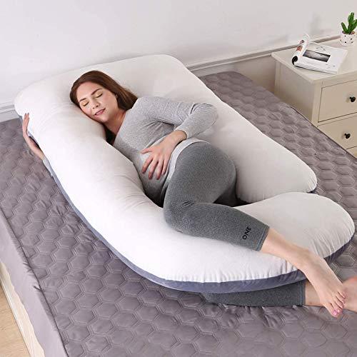 Ylight Almohada Cuerpo Completo para embarazos, Almohada Maternidad con Funda reemplazable y Lavable, con Cremallera Funda de Algodón Extraíble,Blanco,180cmx80xmx17.5cm
