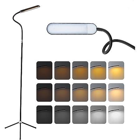 YEXATI 12W LED Lampe Sur Pied De Salon, 3 Températures De Couleur Et Niveaux De Gradation En Continu Lampadaire Trépied, Lampe Sur Pied Avec Col De Cygne Réglable Pour Bureau De Chambre à Coucher (12)