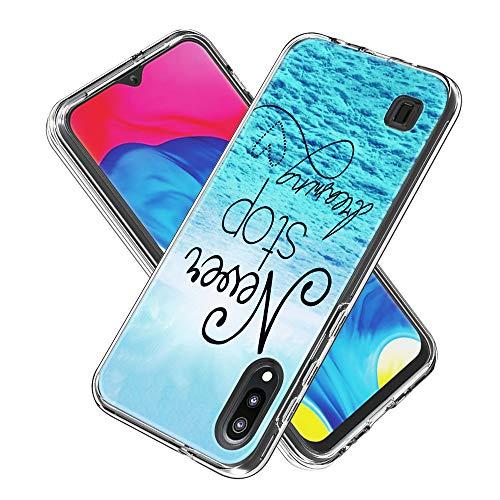 Coque Samsung Galaxy M10 / A10, Silicone Bumper, Transparent PC + TPU Hybride Boîtier de Protection avec Carte de Mode (Never Stop)