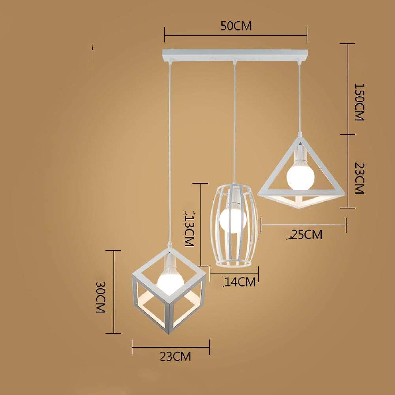 Nordic modern minimalist bar chandelier restaurant chandelier three diamond aisle industrial wind lighting, Three long plates combined with Weiß