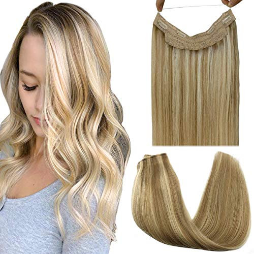 GOO GOO Halo Hair Extensions Human Hair Ombre Light Blonde Highlighted Golden Blonde 12 Inch 70g Remy Hair Extensions Hidden Crown Wire Hair Extensions Invisible Hairpieces Secret Fish Extensions