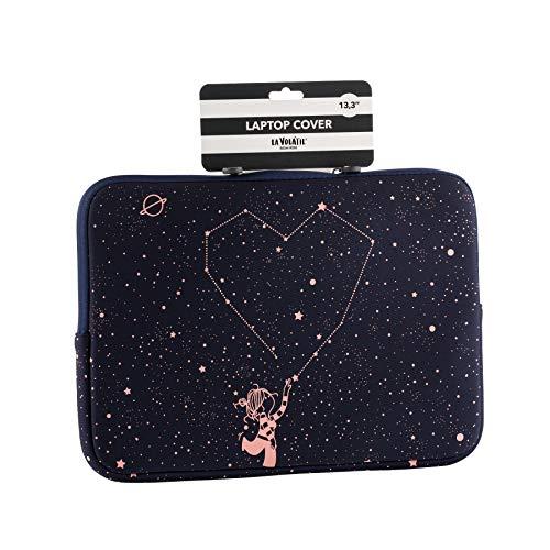 La Volátil Funda de portátil de hasta 14' con diseño de estrellas rosas sobre fonzo azul oscuro, Acolchada y Reforzada con Cremallera