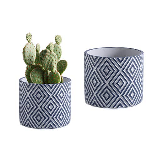 Set of 2 Concrete Flower Plant Pots,4.75 Inch & 5.9 Inch Cement Planter Pots, Geometry Rhombus Patterned Cylinder Pot with Drainage Hole, for Indoor & Outdoor Plants Home Garden Container,Light Blue