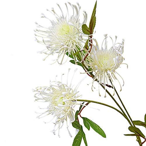 XdiseD9Xsmao Kunstbloemen, levendige kleur, kunstplant met groene bladen, voor thuis, tuin, podium, kantoor, bureau, bonsai, decoratie om zelf te maken Wit