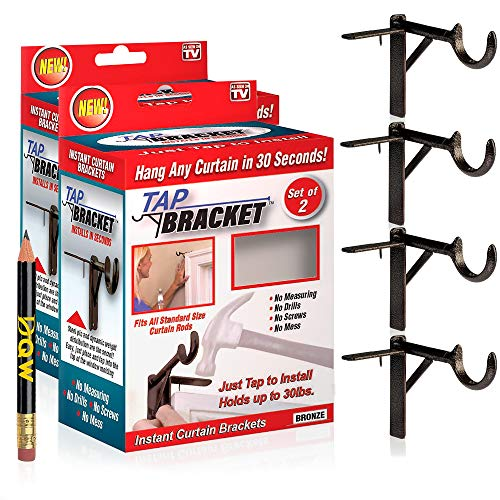 TAP BRACKET- Set of 4, Bronze, Easy No Drill Curtain Rod Brackets No Mess | As Seen on TV | Screwless No Nail No Drilling Curtain Rod Brackets Tap Into Frame | Hang On a Window Frame or Door + Pencil