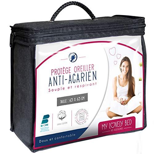 Blanc Cflagrant/® LOT DE 2 Prot/èges Oreillers 65x65cm 100/% Coton Gratt/é Trait/é Anti-Acariens Actigard/® Molleton
