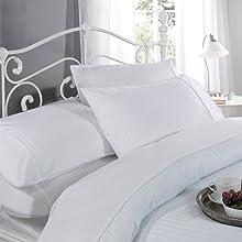 Ritz Funda de edredón franjas de satén de algodón conjunto funda nórdica de 300 hilos Color blanco (200 x 200 cm)