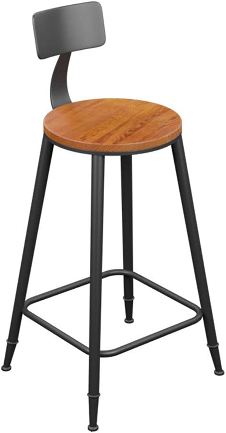 Solid Wood PU Sponge Back Bar Stool Retro Industrial Style High Stool Furniture Kitchen Cafe LEBAO (color    1)