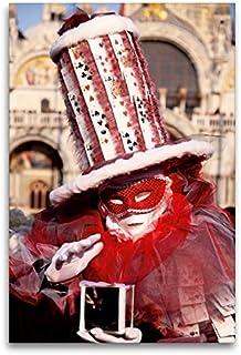 Premium - Lienzo textil (80 cm x 120 cm de alto, diseño de calendario de carnaval en Venecia – Imagen de fantasía sobre bastidor) Lienzo de Calvendo Orte