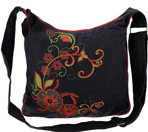 GURU SHOP Geräumige Schultertasche, Hippie Tasche, Goa Tasche - Schwarz/rot, Herren/Damen, Baumwolle, Size:One Size, 34x37x12 cm, Alternative Umhängetasche, Handtasche aus Stoff