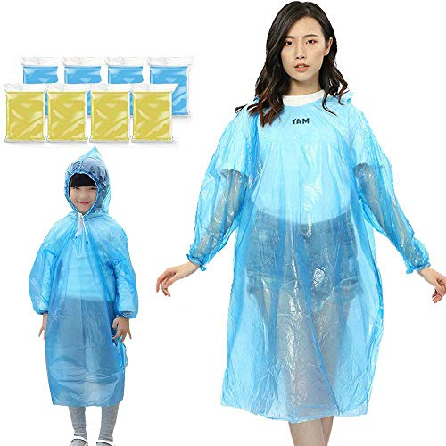 Lainrrew 8 Pack Thick Rain Ponchos, Emergency Lightweight Plastic Raincoat Disposable Waterproof Rainwear for Travel Camping Hiking Disney (Family Size)