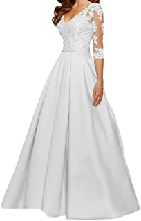 Jdress Womens Lace Long Appliqued Evening Dress A-line 3/4 Sleeve Wedding Party Gown