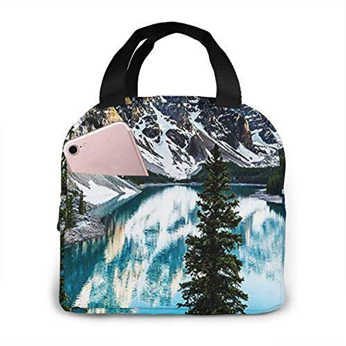 Bolsa de almuerzo con aislamiento para mujeres, hombres, Moraine Lake Banff, Canadá, bolsa de almuerzo reutilizable, organizador de caja de almuerzo, bolsa refrigeradora con frente