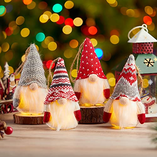 Christmas Gnomes Decorations, 8 Packs Handmade Swedish Gnome with Lights, Table Ornament for Christmas Holiday Party Decor Battery Operated