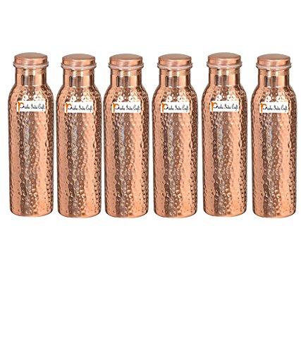 1000ml/33.81oz–Juego de 6–Prisha India Craft–Botella de agua   de cobre martillado conjunto libre, mejor calidad botella de agua–hecho a mano regalo de Navidad
