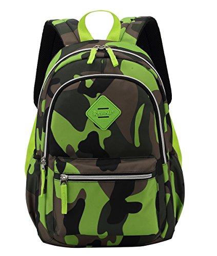 EOZY-Bambino Zaino Camouflage di Poliestere Borsa Zainetto Scuola Bimbo (Verde)