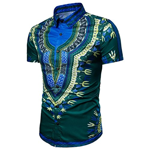 VENMO Mode Herren Ethnic Style Beach Short-Sleeved Shirt/Hipster Hip Hop Bluse/Afrikanische Dashiki/Retro afrikanisch Tradition Festival Kleidung Tribal Hemd