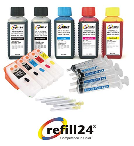 Kit de Recarga para Cartuchos de Tinta Epson 26/26XL T2601, T2611, T2612, T2613, T2614 Negro y Color + Cartuchos Recargables y Accesorios + 500 ml