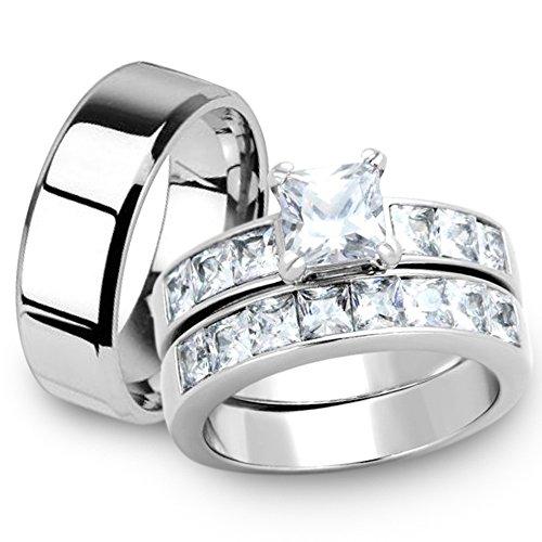 Marimor Jewelry Her & His 3pc Princess Wedding Engagement Ring & Men