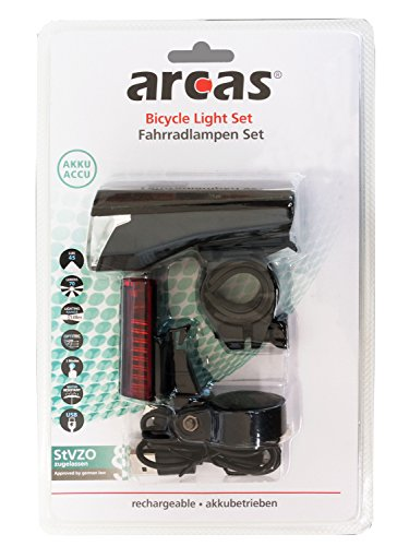 Arcas 30730003 Kit d'éclairage LED pour vélo 2 pièces, avec Batterie au Lithium intégrée Noir