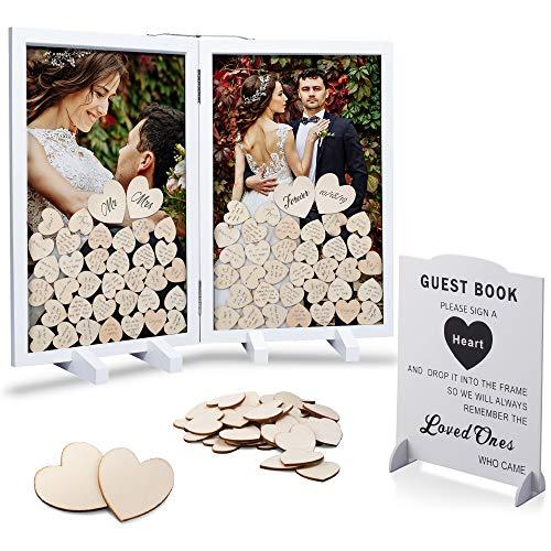 GLM - Marco de invitados para bodas, 160 corazones de madera, 4 corazones grandes y signo alternativo libro de invitados, caja de sombra para bodas, baby showers, aniversario (blanco)