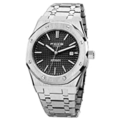 """⌚ Octagonal Wristwatch for Men: This watch is no longer a round or square in the traditional sense. Stainless steel octagonal bezel is inspired by the porthole of cruise ships, designed with eight hexagonal screws, the dial featuring the """"tapisserie""""..."""