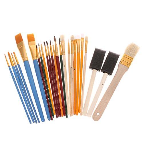 siwetg 25-teiliges Profi-Pinsel-Set, Nylon-Haaröl, Aquarellstift, Kunstzubehör, Multifunktions-Öl-Pinsel-Set