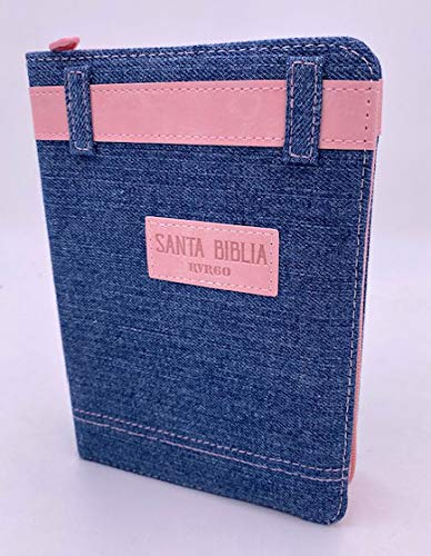 Biblia Reina Valera 1960 Letra Grande Jean/Vaquera Tamaño Portátil Cierre Cremallera Índice Marcapáginas Adorno Cinturón Rosa, Concordancia, Mapas