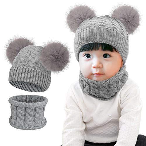 Tuopuda Sombrero para Niños Y Niñas Bufanda Conjunto Slouchy Inviern