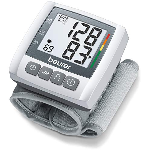"Beurer BC30 Wrist Blood Pressure Monitor, Adjust. Cuff   Automatic & Digital, 2x 60 Reading Memory, LCD XL Numbers, Irreg. Heartbeat, Cuff Circ. 5.3"" - 7.7""  Home Use BP Machine Kit   High BP Detector"