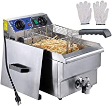 WeChef Large Commercial Electric Stainless Steel Deep Fryer Countertop Restaurant Equipment Timer and Drain 11.7L