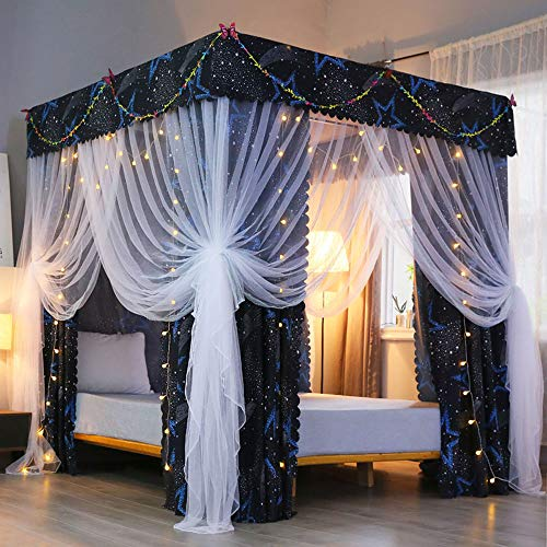 Mengersi Four Corner Post Canopy Bed Curtains 2-in-1 Anti-Glare Windproof Lightproof for Girls Boys Kids Teens Gift Home Bedroom Decoration (Queen, Star)