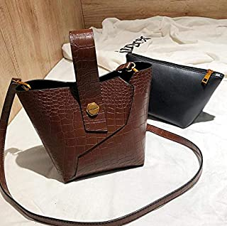 Adebie - Vintage Fashion Female Tote Bucket Bag 2019 New Quality PU Leather Women's Designer Handbag Alligator Shoulder Messenger Bag 26 X 15 X 18 cm Dark Brown []