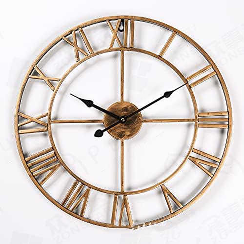 DXMGZ Reloj de Pared Grande, Reloj de Pared Vintage Industrial Europeo con Grandes Números Romanos, Reloj de Metal Silencioso Que No Hace Tictac para el Hogar, la Sala de Estar, la Cocina B 40CM