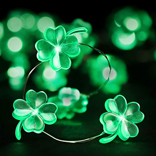 somubi St Patrick Day Decorations 10ft/40LEDs Remote Control Green Shamrock String Lights Irish St Patrick's Day Accessories Four Leaf Clover Garden Plant Fairy Lights Deco for Patio Party Yard