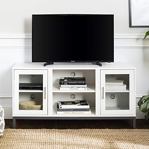 Walker Edison Furniture Company Modern Glass and Wood Universal Stand with Open TV's up to 58