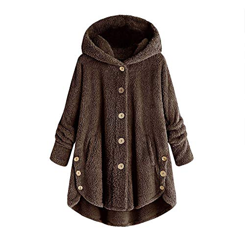 Dosoop Women Winter Hoodies Coat Loose Sweatshirt Plus Size Outerwear Button Plush Tops Hooded Cardigan Wool Jacket