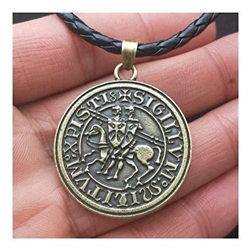AdorabFruit Présent Pendentif Hombres Amuleto de Viking joyería Dobles War Horse griegos Caballeros Templarios Latina Exquisito Collar Colgante Sello conmemorativo (Metal Color : 0)