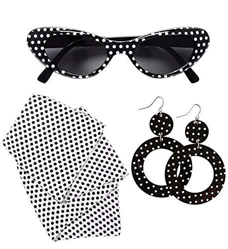 shoperama Juego de accesorios para disfraz de mujer de los años 50, moda de los años 50, ojo de gato, gafas de sol, pañuelo y pendientes
