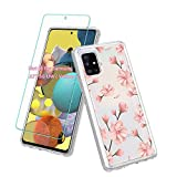 Vinve Samsung Galaxy A71 5G case with Screen Protector, Clear Flower Design Hard PC Back+ TPU Bumper Protective Slim Case for Galaxy A71 5G (Peach Blossom)