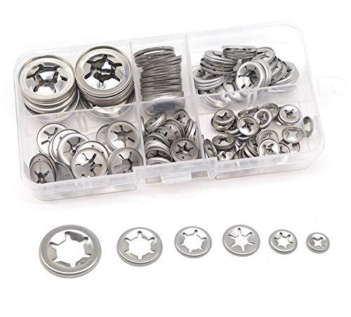 150Pcs 304 Stainless Steel Star Lock Internal Tooth Locking Washers Assortment Kit, M3/ M4/ M5/ M6/ M8/ M10/ M12