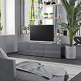 vidaXL Mueble para TV Comedor Centro Televisión Televisor Equipo de Música Armario Bajo Almacenaje Soporte de Aglomerado Gris Brillante 120x34x30cm