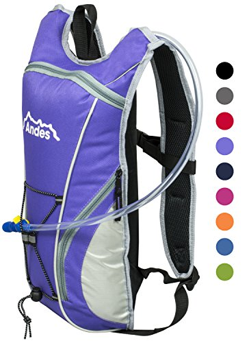 Andes Purple 2 Litre Hydration Pack Water Rucksack/Backpack Cycling Bladder Bag New