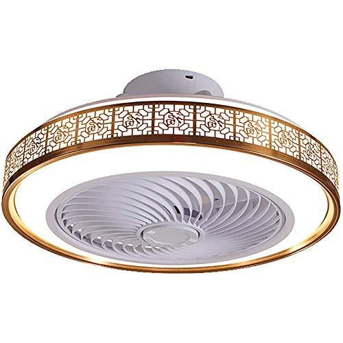 Ventilador de techo con iluminación LED, lámpara de techo moderna de 3 velocidades de viento con control remoto regulable, 75 W para dormitorio, sala de estar y comedor-dorado