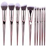 Fanxp 10 Conjuntos de pinceles de maquillaje multifuncionales Mango de huellas dactilares cónicos Pincel de maquillaje, Base de maquillaje Blush Eye Shadow Corrector Lip Eye Makeup Brush Beauty Tool