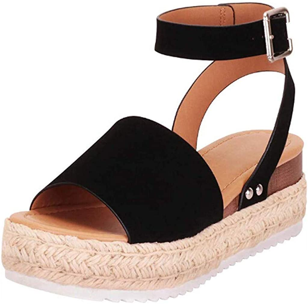 Women's Platform Ankle Strap Open Toe Espadrille Wedge Sandals Rubber Sole Studded Wedge Buckle Ankle Strap Sandals