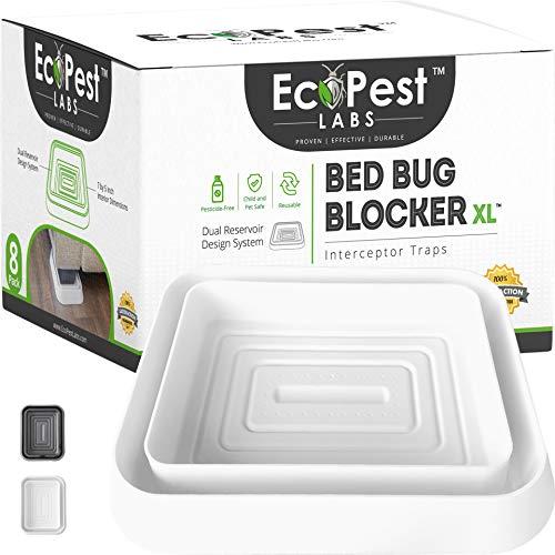 Bettwanzen Detektor - 8er Pack   Bettwanzenfalle Bed Bug Blocker (XL)   Bettwanzen Test (weiß)   Extra große Insektenfalle, Wanzen Monitor und Detektor für Bettwanzen