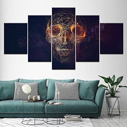 YTDZ 5Tafeln Wand-Kunst Bild Abstrakter dreidimensionaler Schädel 150x80cm Drucke auf Leinwand Öl Bilder Für zu Hause Moderne Dekoration Druckdekor
